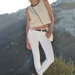 White Jean and Linen Crop Top in Greece