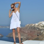 Little White Dress in Santorini, Greece