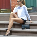 Classic Black & White – Leather Shorts and a Summer Sweater