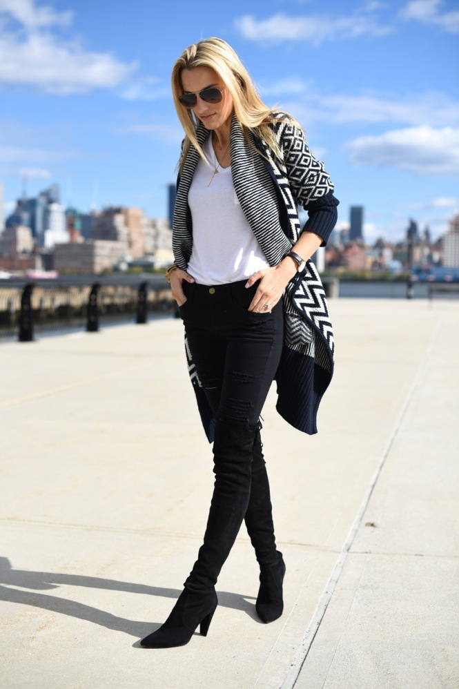 sweater, fall style, print, over-the-knee boots, distressed denim, black denim