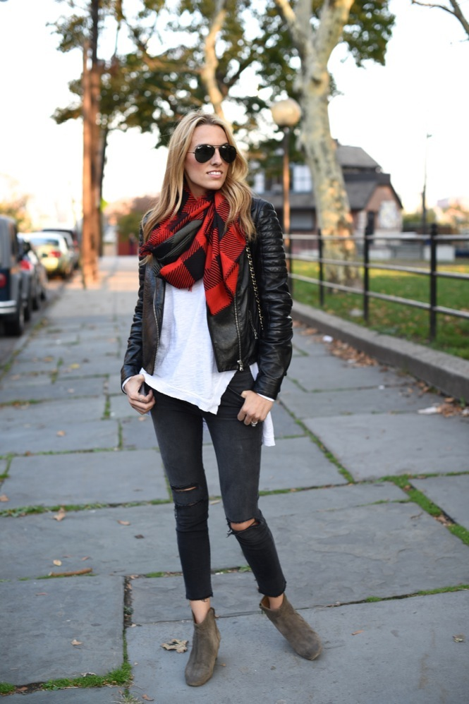 leather jacket, isabel marant boots, chanel bag, plaid, fall fashion