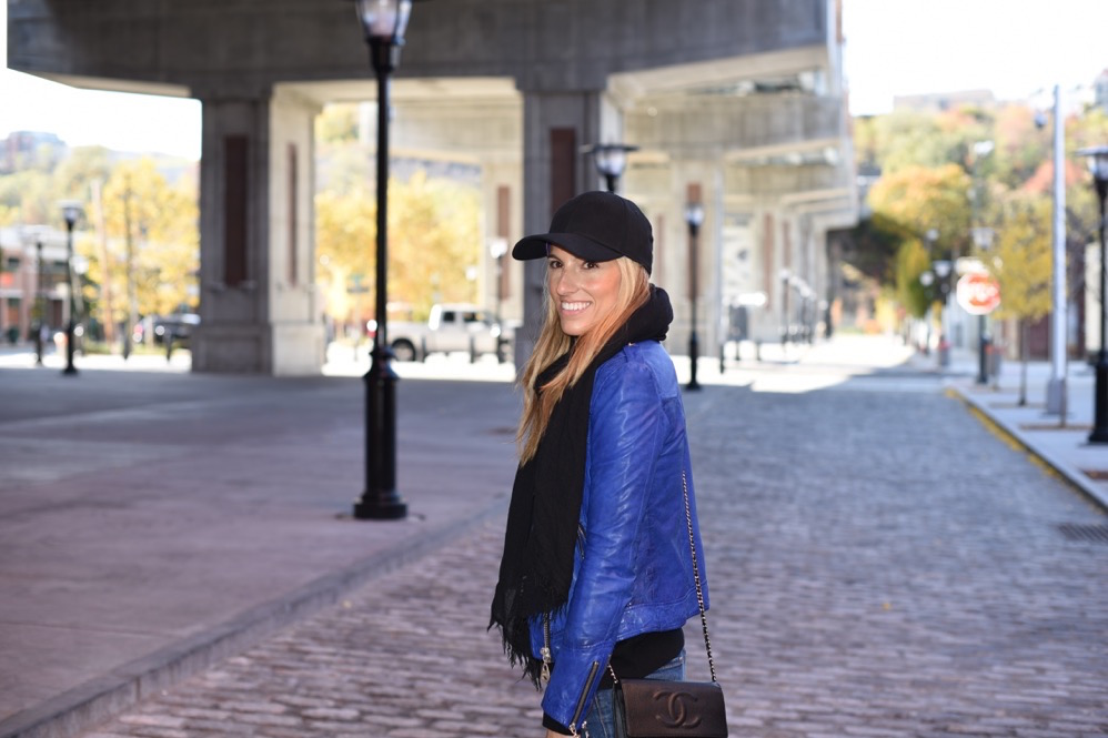 Doma Leather jacket, Chanel Bag, Baseball Cap, Fall Style