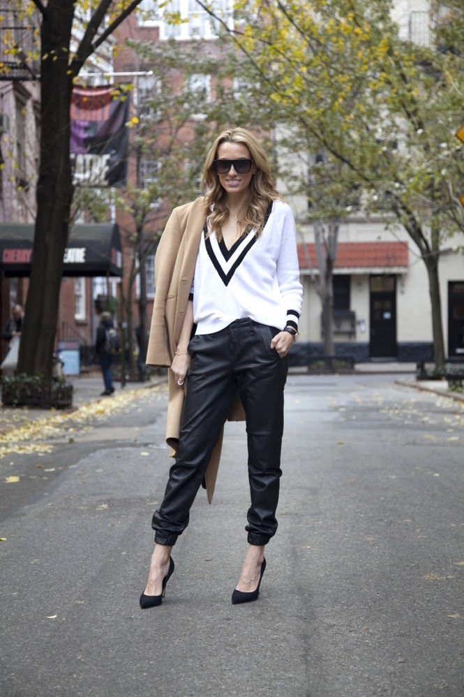 rag & bone leather pajama pant, camel coat, nasty gal sweater, black Sergio Rossi pumps