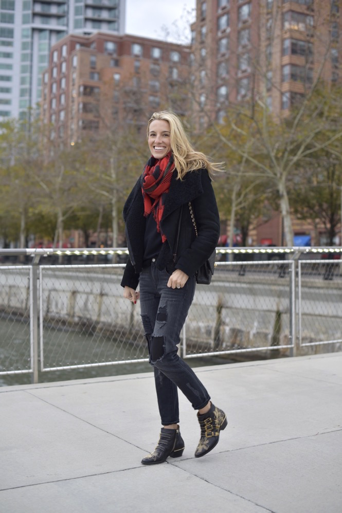 rag & bone plaid scarf, chloe boots