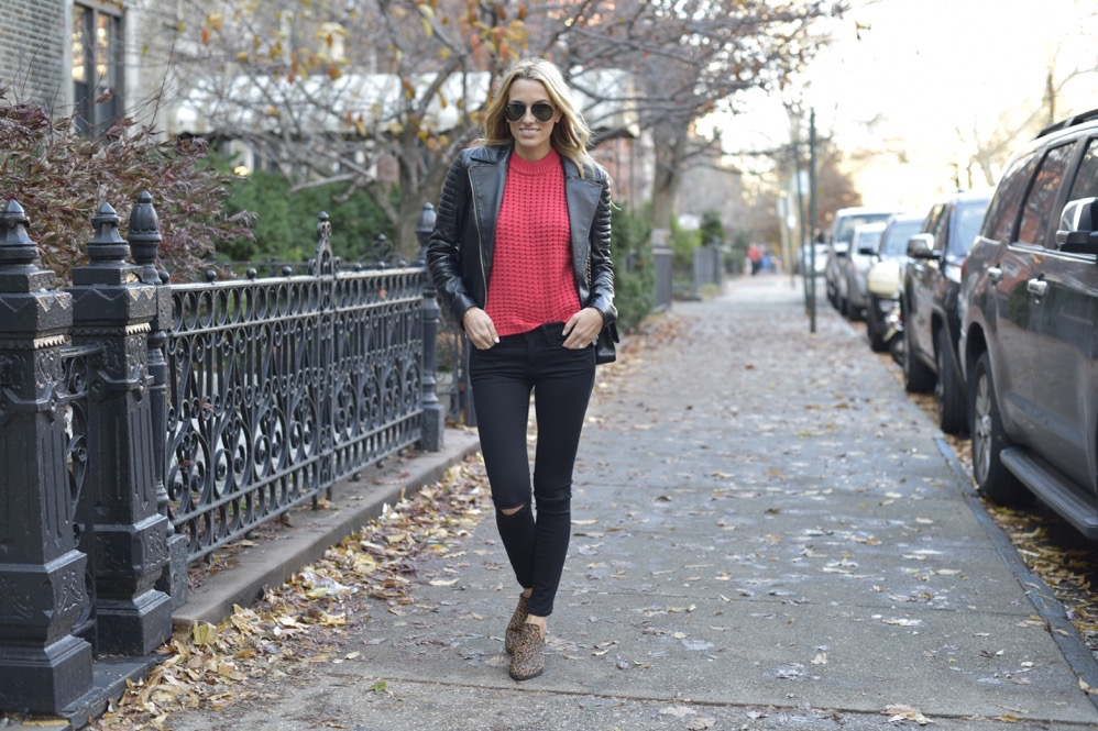black frame denim, red knit top, leather jacket - 03