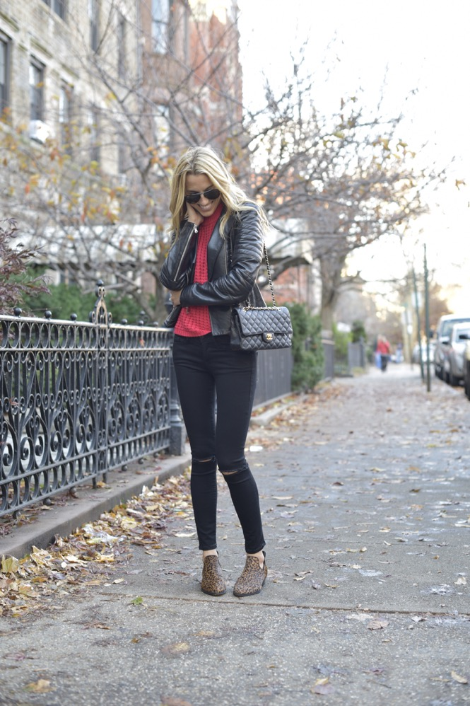 black frame denim, red knit top, leather jacket - 05