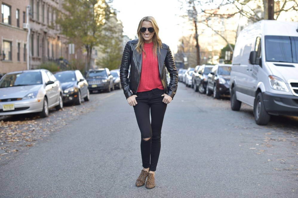 black frame denim, red knit top, leather jacket - 06