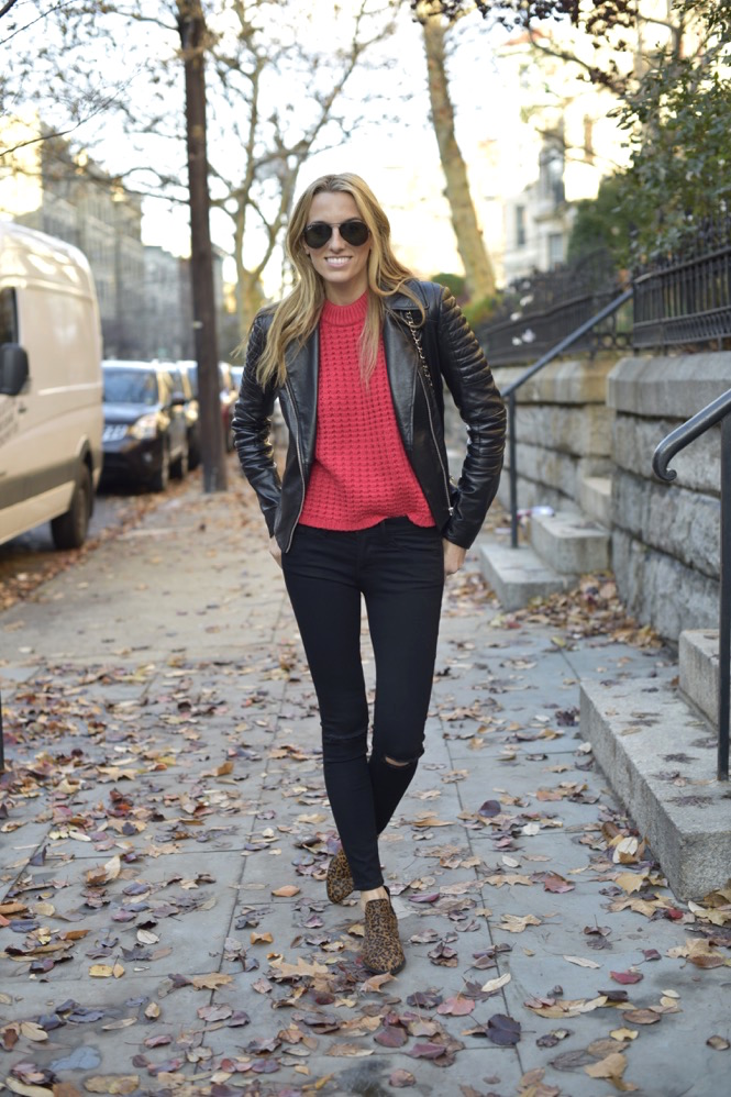 black frame denim, red knit top, leather jacket - 09