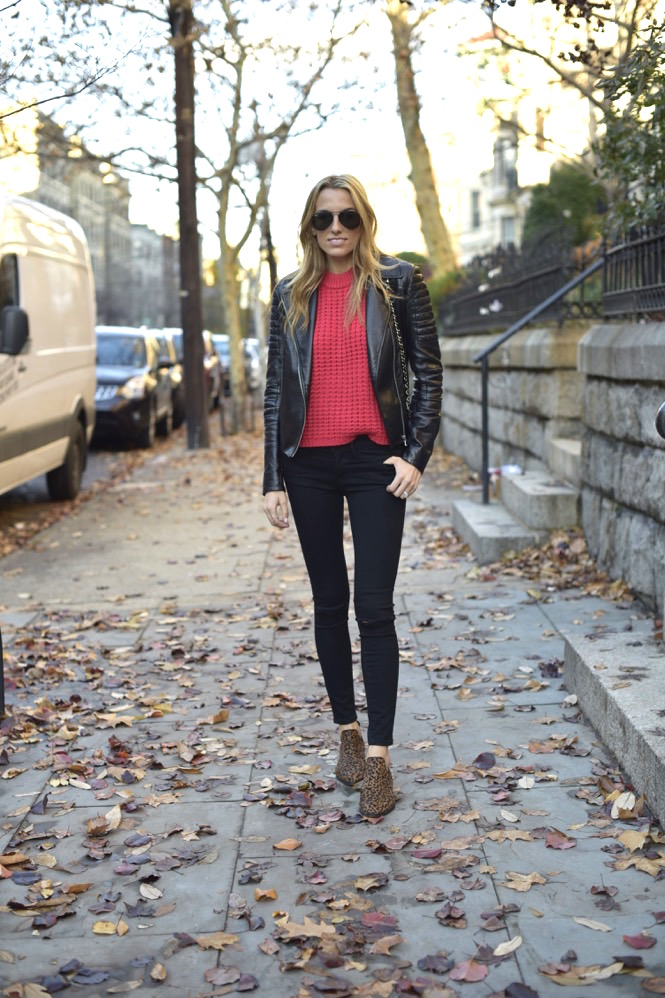 black frame denim, red knit top, leather jacket - 10