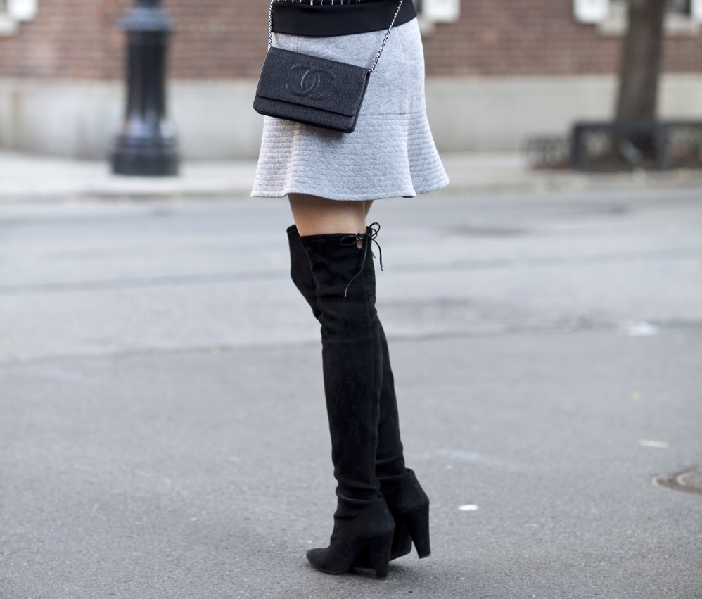 Chanel bag, Stuart Weitzman Highstreet Boot, Over-the-knee boots, Holiday, Mirrored Sunglasses