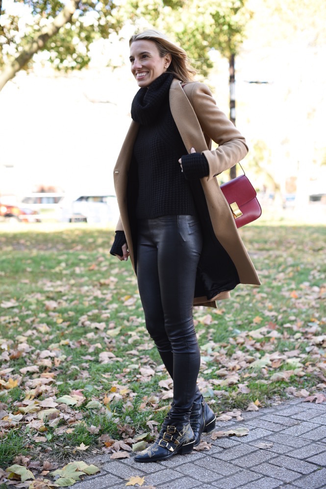 camel coat, zara, leather, fall style, fall fashion, all black everything