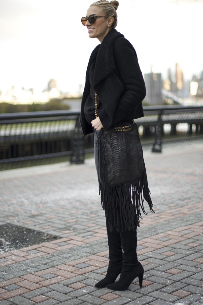 Ramy Brook Fringe bag, Stuart Weitzman Over the knee high street boots, J brand jeans