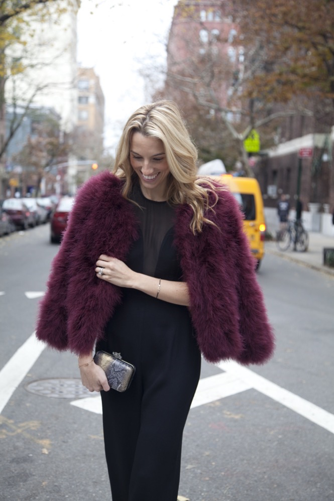 Colored Faux Fur jacket, New York City Holidays, Jumpsuit, Revolve clothing