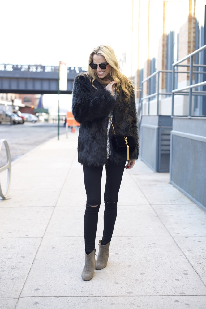 YSL bag, Cartier Love ring, Helmut Lang Sweatshirt, faux fur coat