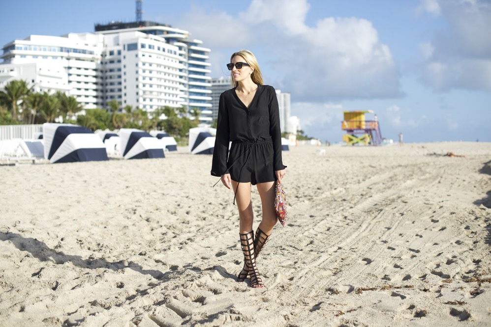 Miami beach, romper, stuart weitzman gladiator shoes