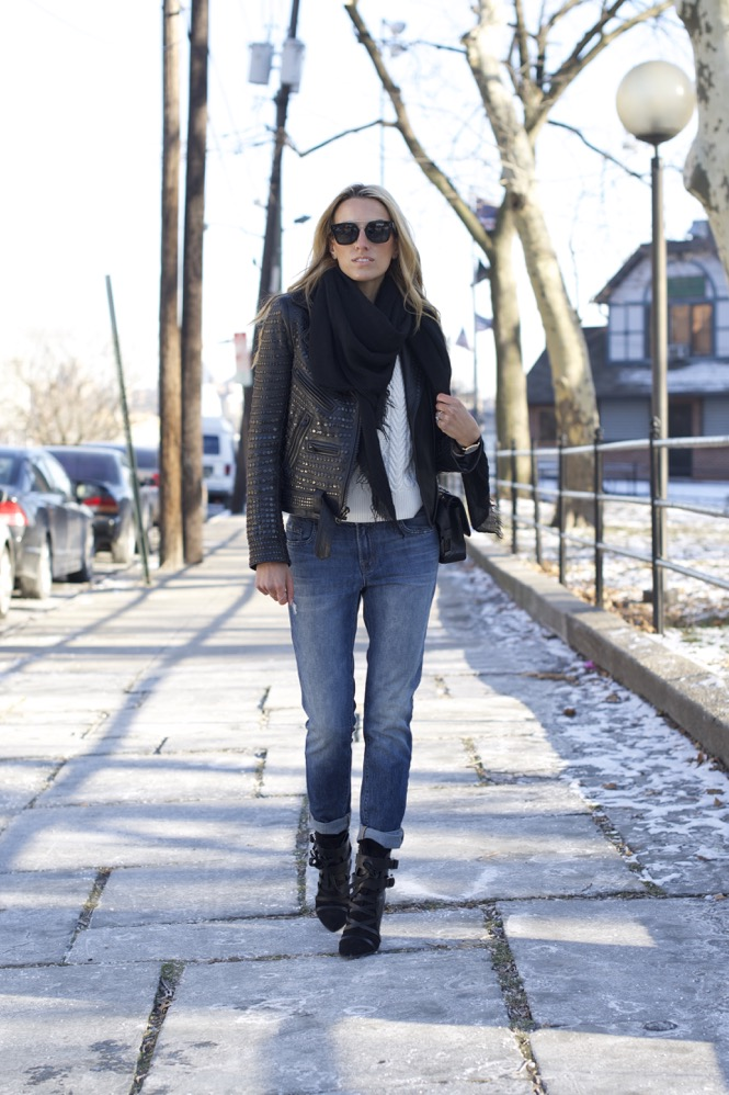 A.L.C Studded leather Jacket, J brand Boyfriend jeans, Celine Sunnies, Isabel Marant Boots, Chanel Bag