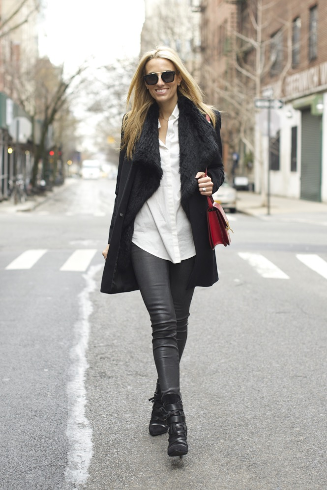 Minimalist- Grey Leather Pants, Celine Box Bag, Isabel Marant Boots