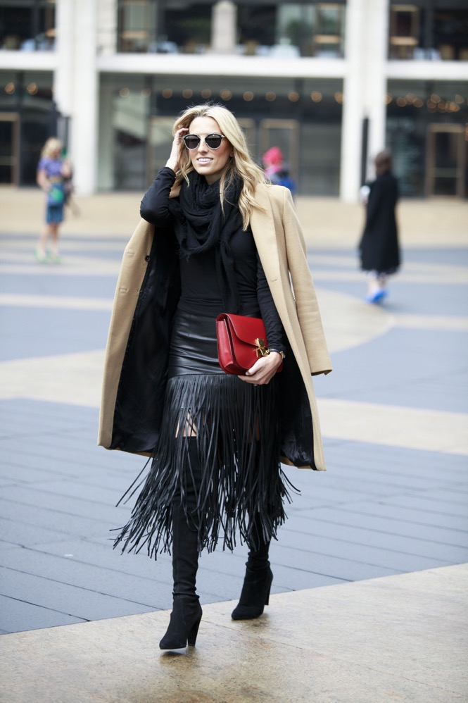 NYFW Day 1, Fringe Skirt, Over the knee boots - 01