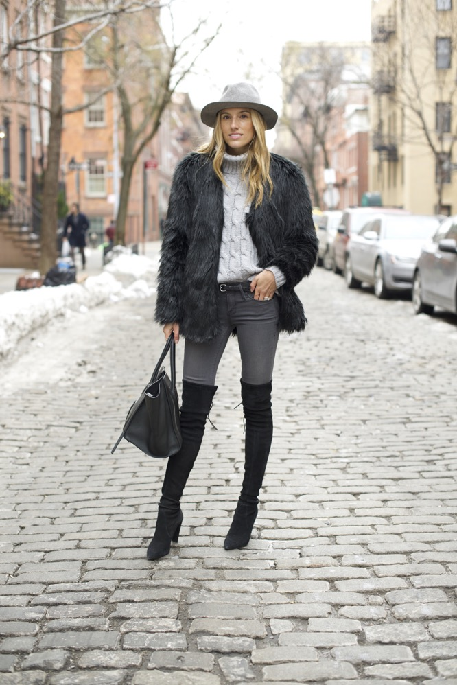 shades of grey, over the knee boots, celine bag, faux fur - 01
