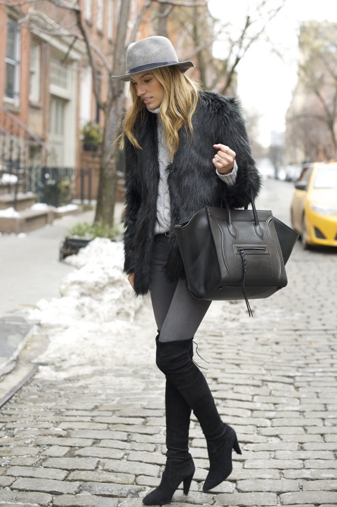 shades of grey, over the knee boots, celine bag, faux fur - 02