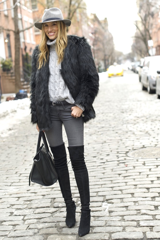 shades of grey, over the knee boots, celine bag, faux fur - 03