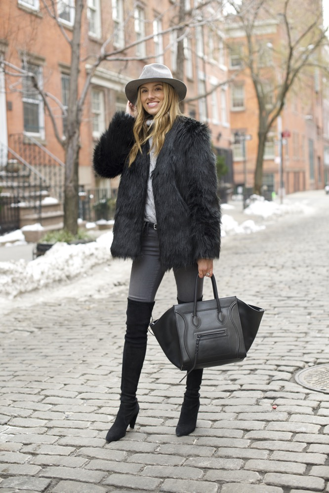 shades of grey, over the knee boots, celine bag, faux fur - 04