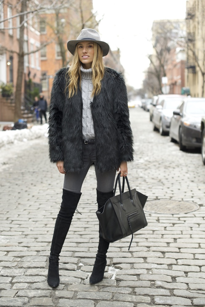shades of grey, over the knee boots, celine bag, faux fur - 05