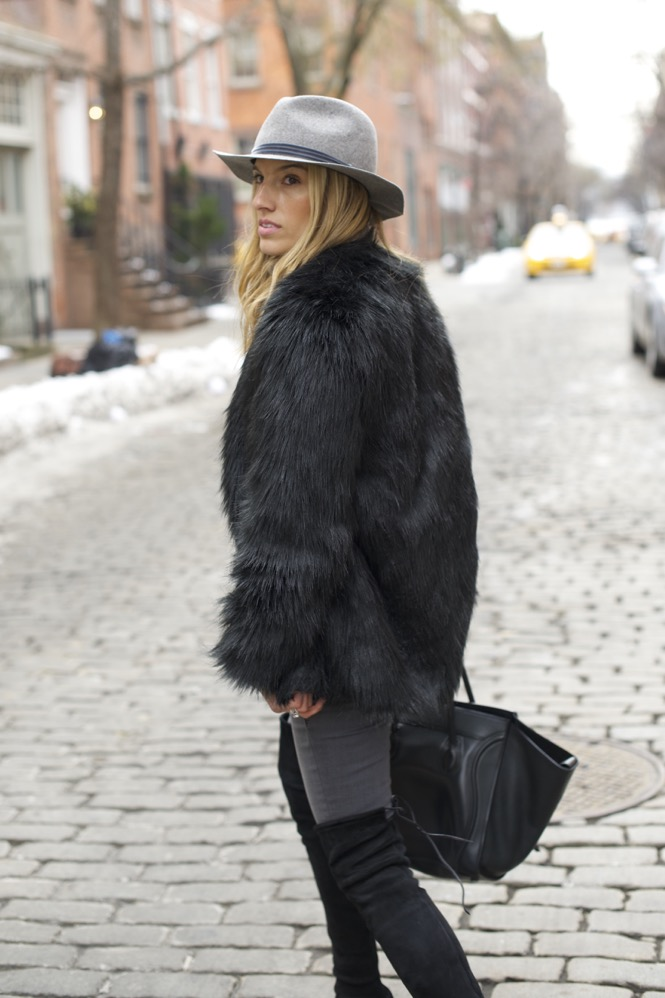 shades of grey, over the knee boots, celine bag, faux fur - 06