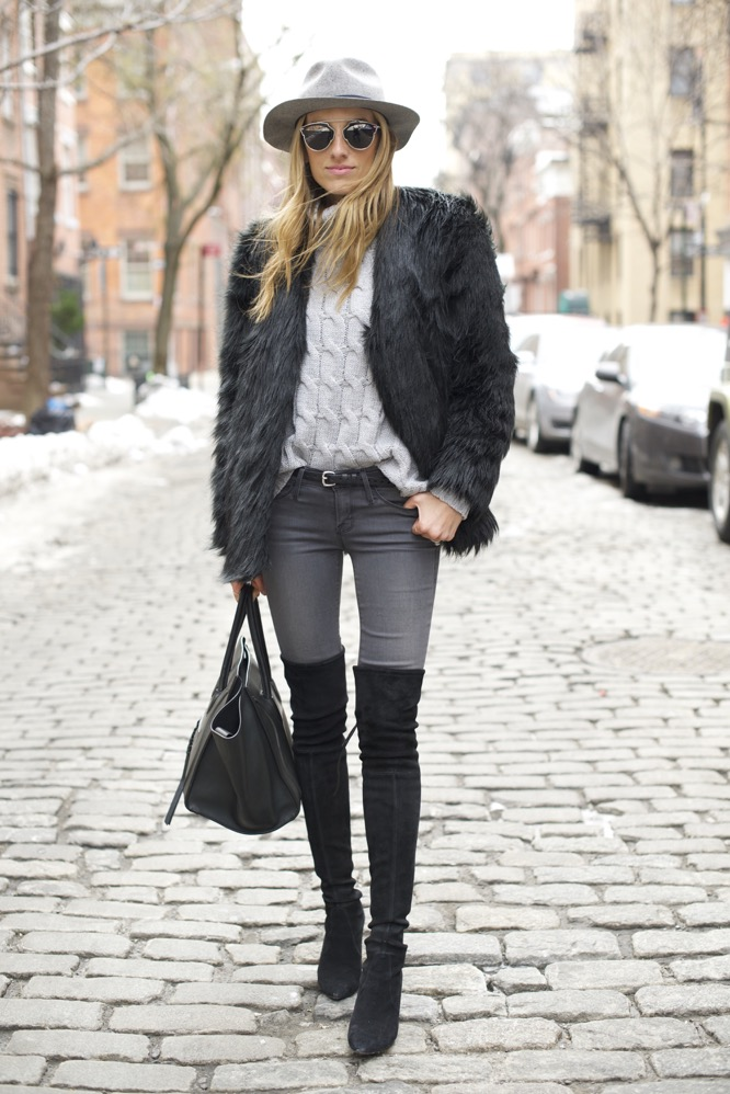 shades of grey, over the knee boots, celine bag, faux fur - 08