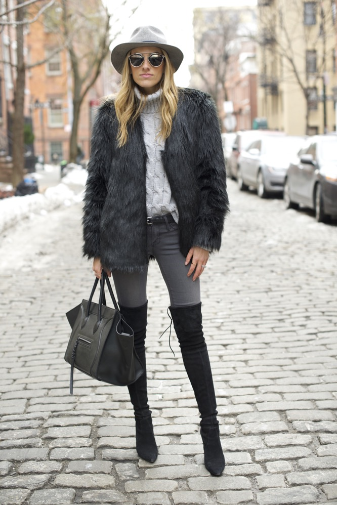 shades of grey, over the knee boots, celine bag, faux fur - 11