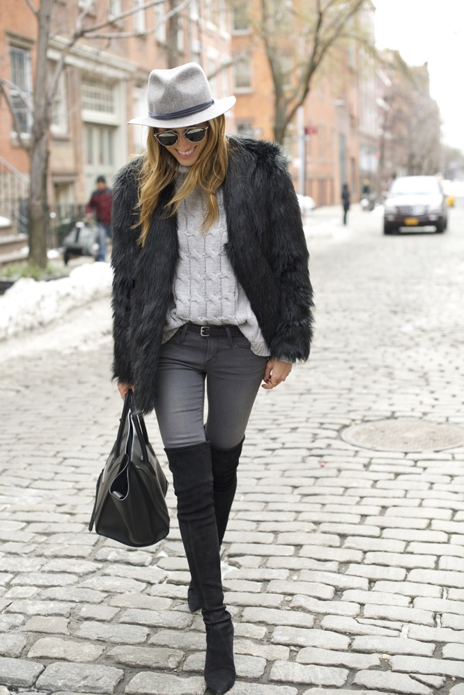 shades of grey, over the knee boots, celine bag, faux fur - 12