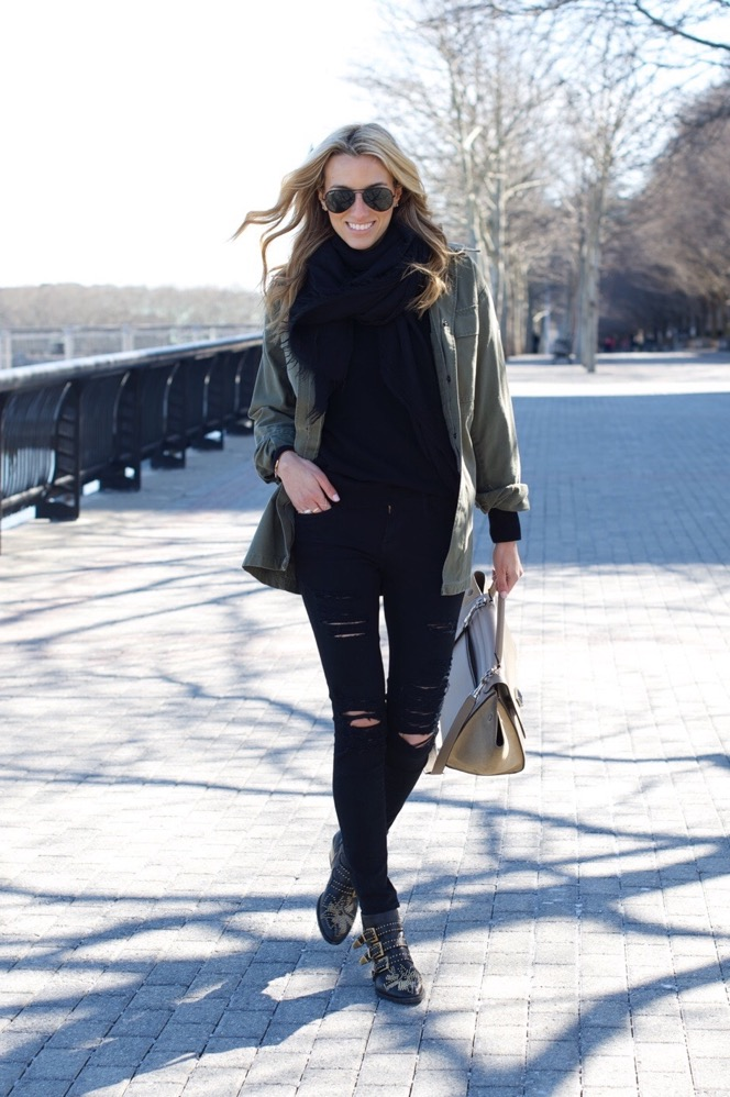 Celine Trapeze, Chloe Boots, Army Jacket