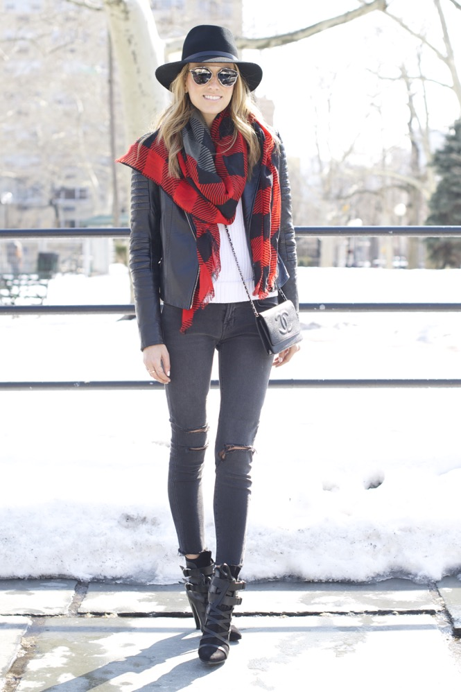 J Brand, Isabel Marant Boots, Chanel Bag, Red Scarf
