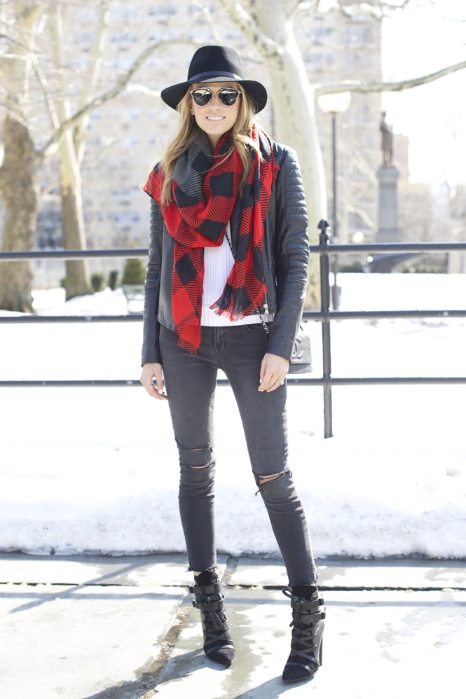 J Brand, Isabel Marant Boots, Chanel Bag, Red Scarf 7