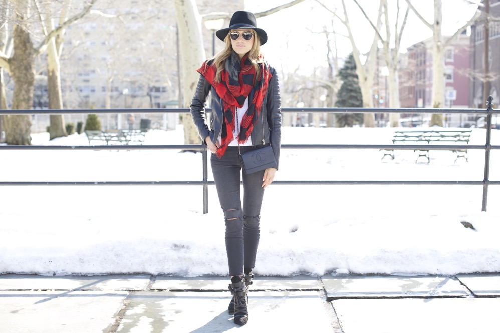 J Brand, Isabel Marant Boots, Chanel Bag, Red Scarf 1