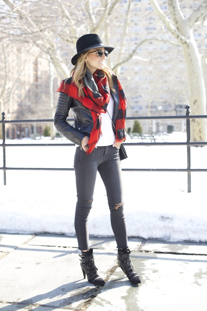 J Brand, Isabel Marant Boots, Chanel Bag, Red Scarf 6