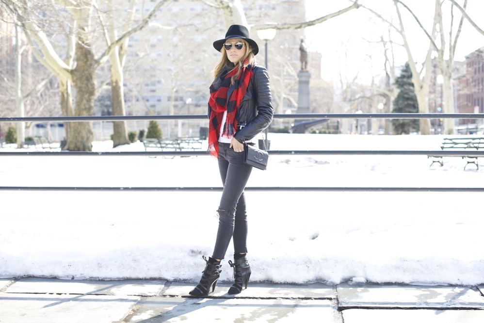 J Brand, Isabel Marant Boots, Chanel Bag, Red Scarf 5