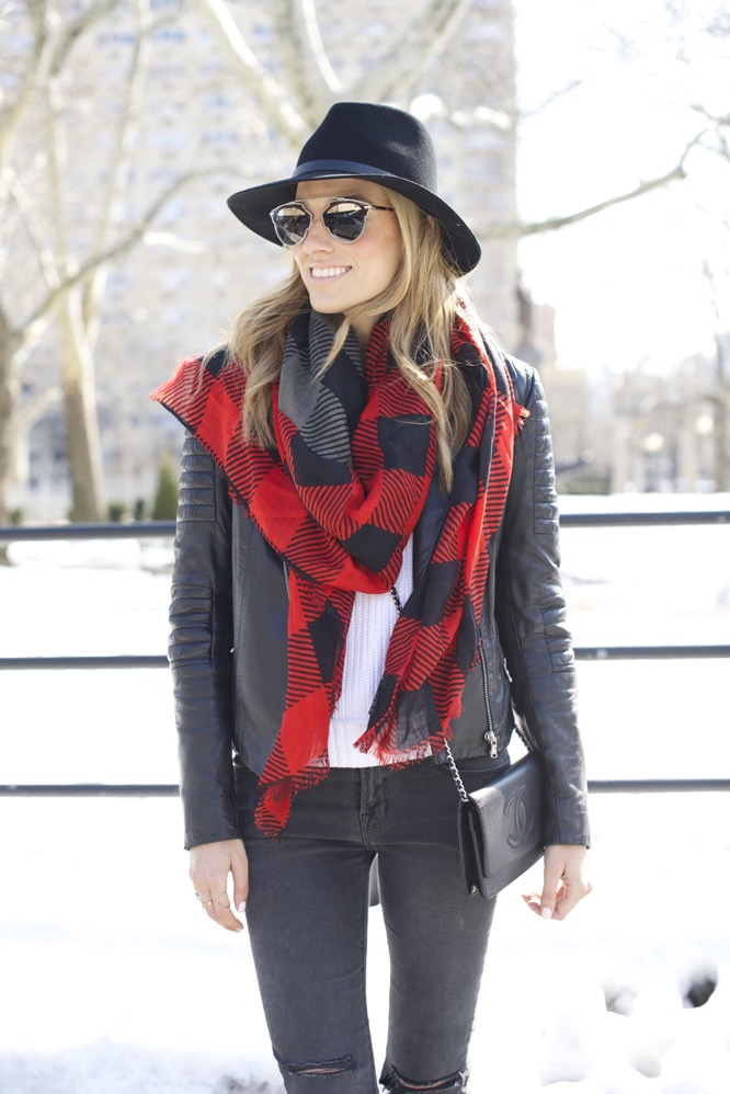 J Brand, Isabel Marant Boots, Chanel Bag, Red Scarf 3