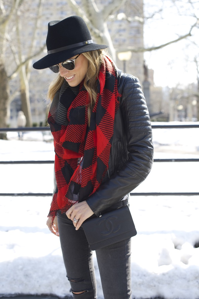 J Brand, Isabel Marant Boots, Chanel Bag, Red Scarf 2
