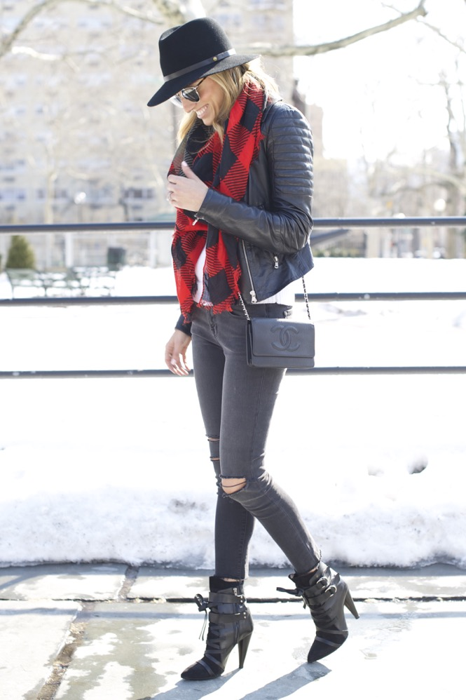 J Brand, Isabel Marant Boots, Chanel Bag, Red Scarf 10