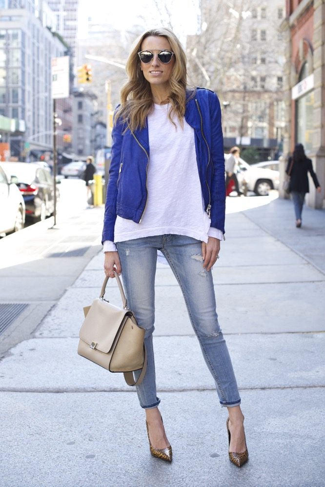 Doma Blue leather jacket, Dior So Real Sunglasses