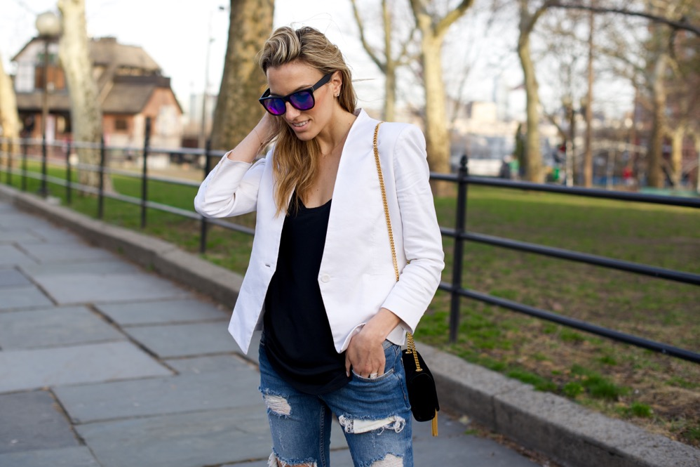 Zara Ripped Jeans, White Blazer - 12 of 12