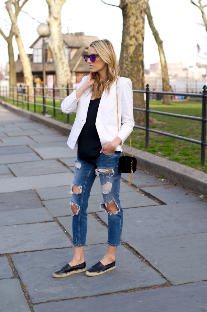 Zara Ripped Jeans, White Blazer - 4 of 12