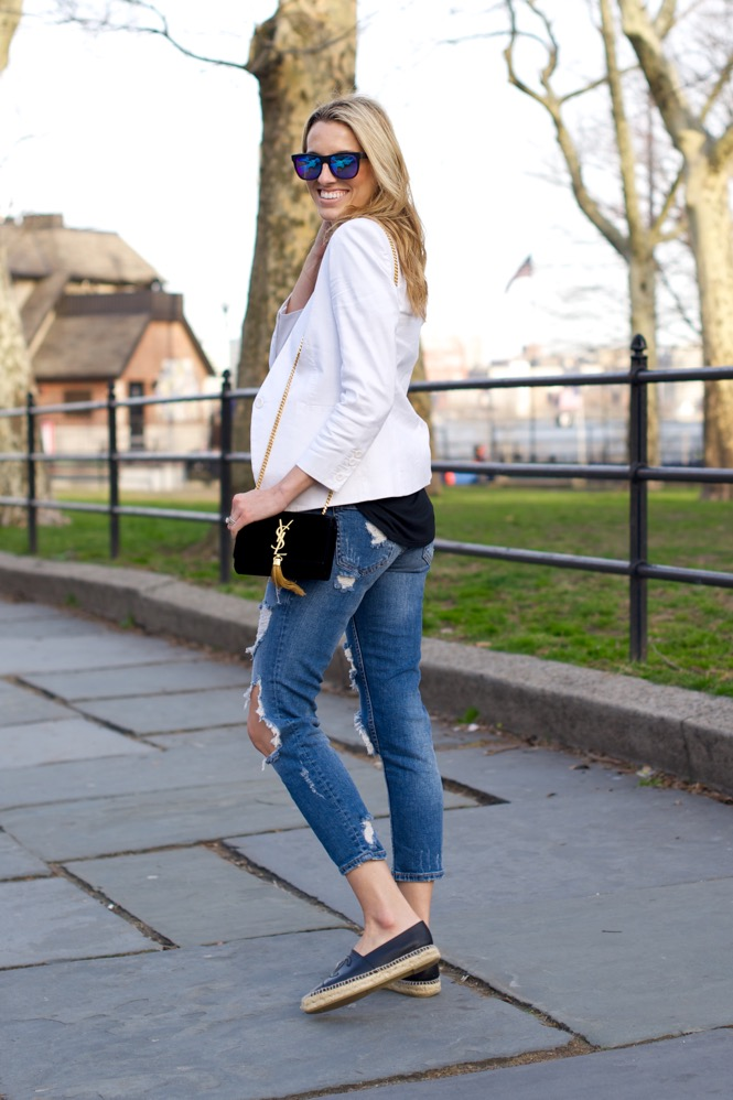 Zara Ripped Jeans, White Blazer - 5 of 12