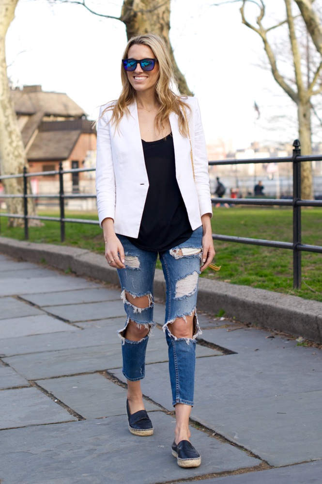 Zara Ripped Jeans, White Blazer - 7 of 12