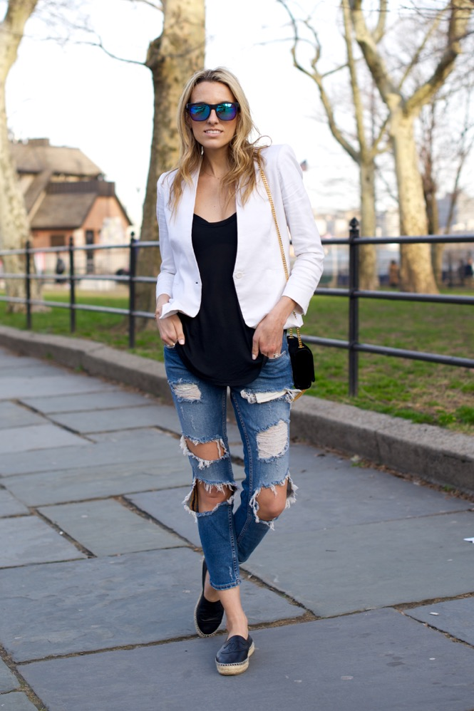Zara Ripped Jeans, White Blazer - 8 of 12