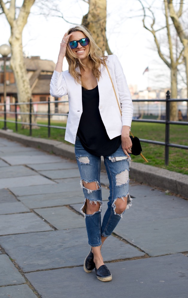 Zara Ripped Jeans, White Blazer - 9 of 12