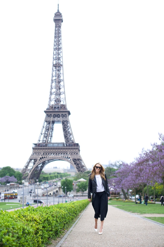 Eiffel Tower, Paris in Culottes - Leather Jacket