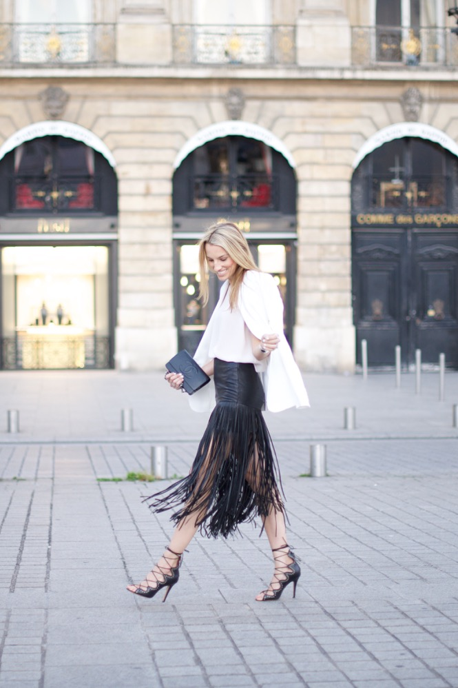 Paris Street Style, Fringe Skirt, Isabel Marant Shoes