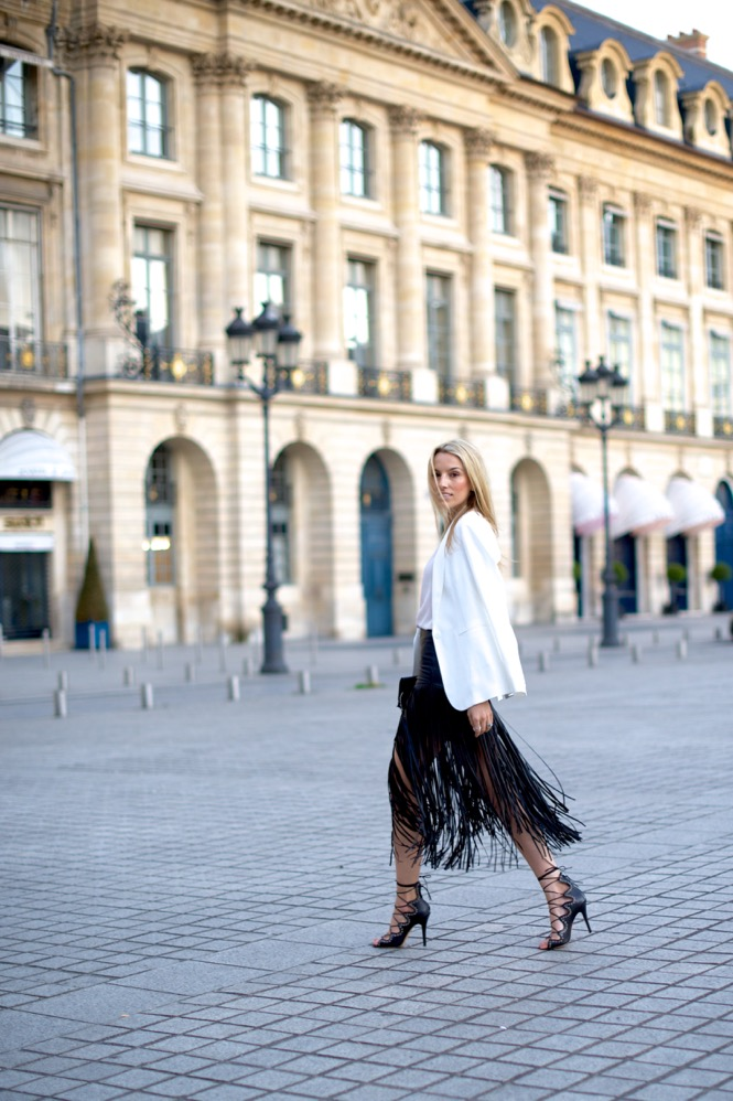 Paris, Fringe Skirt, Street Style, Pink Top, Isabel Marant Shoes, Chanel Bag